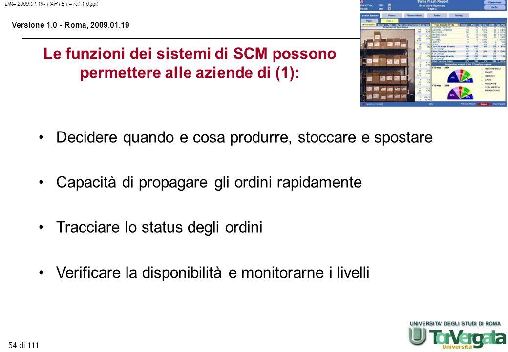 54 di 111 DM– 2009.01.19- PARTE I – rel. 1.0.ppt Versione 1.0 - Roma, 2009.01.19 Le funzioni dei sistemi di SCM possono permettere alle aziende di (1)