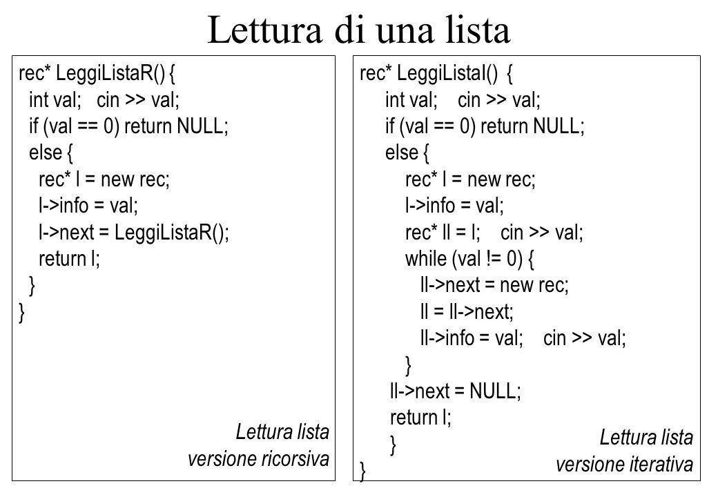 rec* LeggiListaR() { int val; cin >> val; if (val == 0) return NULL; else { rec* l = new rec; l->info = val; l->next = LeggiListaR(); return l; } Lettura lista versione ricorsiva Nodo lista Lettura di una lista rec* LeggiListaI() { int val; cin >> val; if (val == 0) return NULL; else { rec* l = new rec; l->info = val; rec* ll = l; cin >> val; while (val != 0) { ll->next = new rec; ll = ll->next; ll->info = val; cin >> val; } ll->next = NULL; return l; } Lettura lista versione iterativa