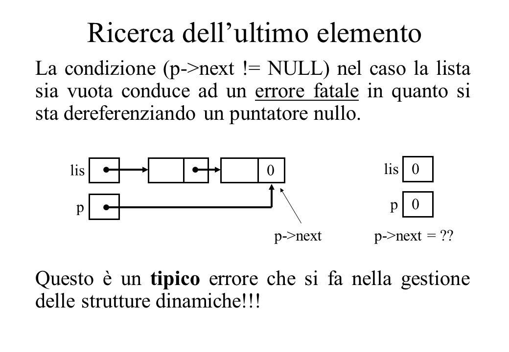 Ricerca dellultimo elemento La condizione (p->next != NULL) nel caso la lista sia vuota conduce ad un errore fatale in quanto si sta dereferenziando un puntatore nullo.