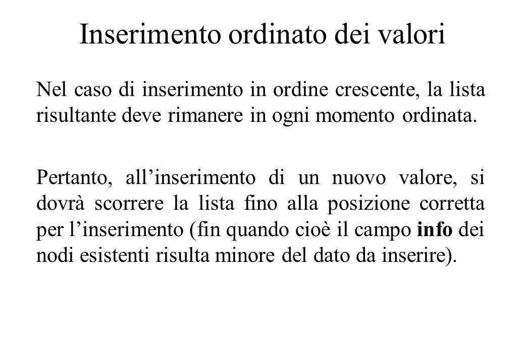 Inserimento ordinato dei valori Nel caso di inserimento in ordine crescente, la lista risultante deve rimanere in ogni momento ordinata.