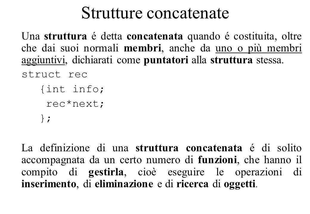 Strutture concatenate Una struttura é detta concatenata quando é costituita, oltre che dai suoi normali membri, anche da uno o più membri aggiuntivi, dichiarati come puntatori alla struttura stessa.