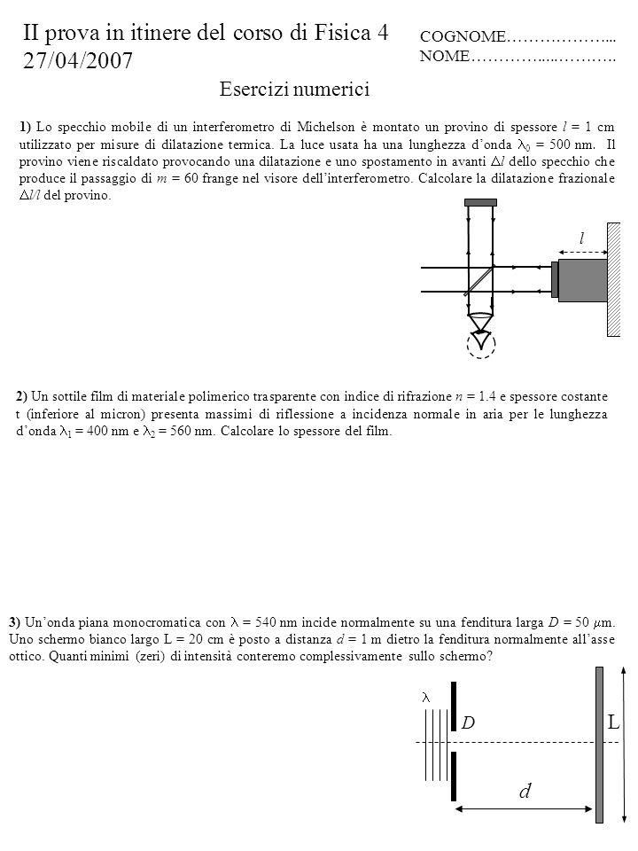 Esercizi numerici 2) Un sottile film di materiale polimerico trasparente con indice di rifrazione n = 1.4 e spessore costante t (inferiore al micron)