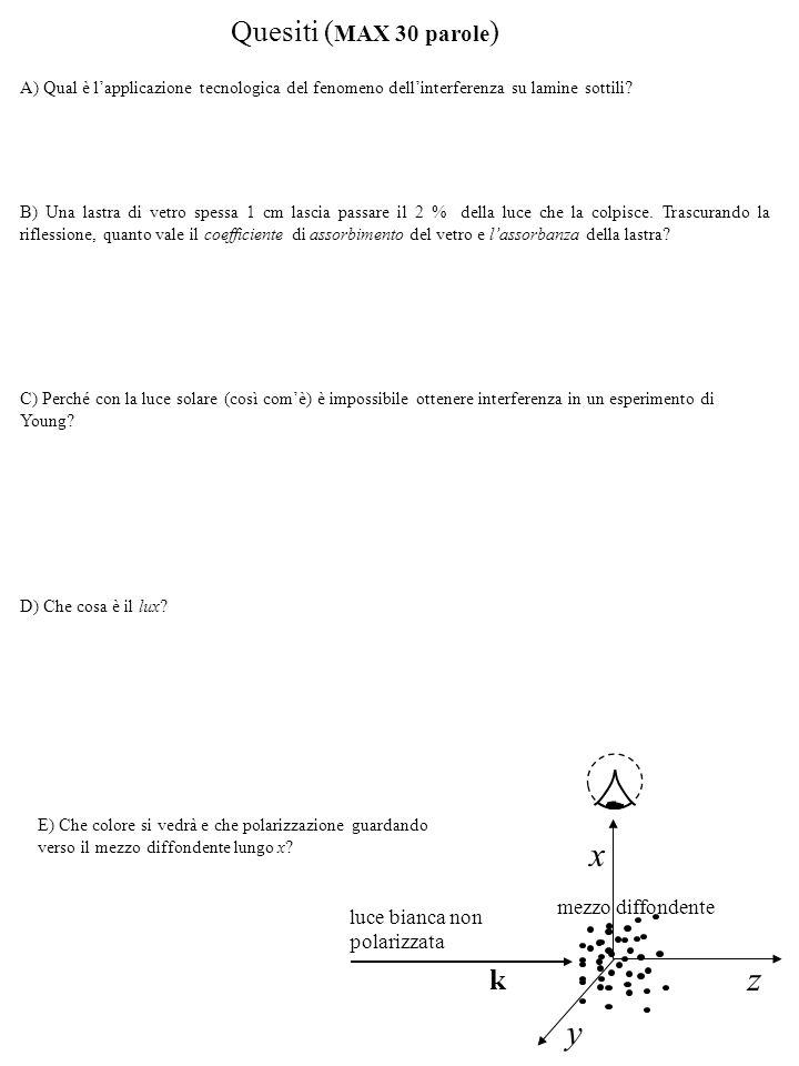 Soluzioni 1) 3) dalla legge dell interferenza a incidenza quasi normale su lamine sottili: si ottiene: Che hanno come unico risultato in comune (sotto il micron): 3) dalla legge della diffrazione da fenditura alla Fraunhofer, i minimi sullo schermo si torneranno in posizione (rispetto al centro): da cui il numero sarà: