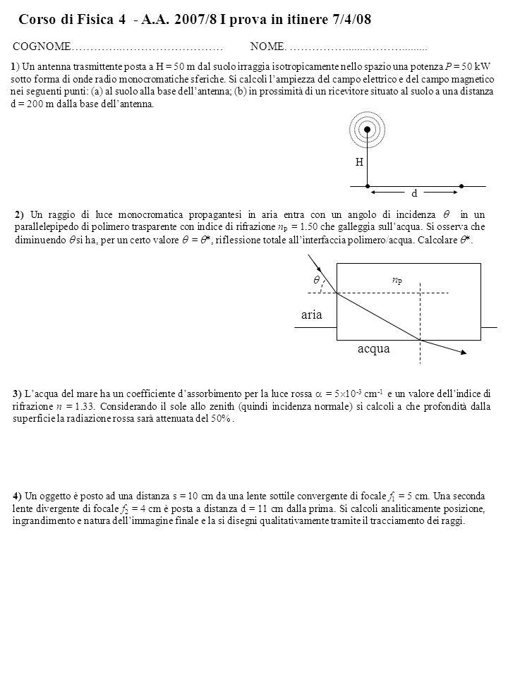 Corso di Fisica 4 - A.A. 2007/8 I prova in itinere 7/4/08 COGNOME…………..……………………… NOME.