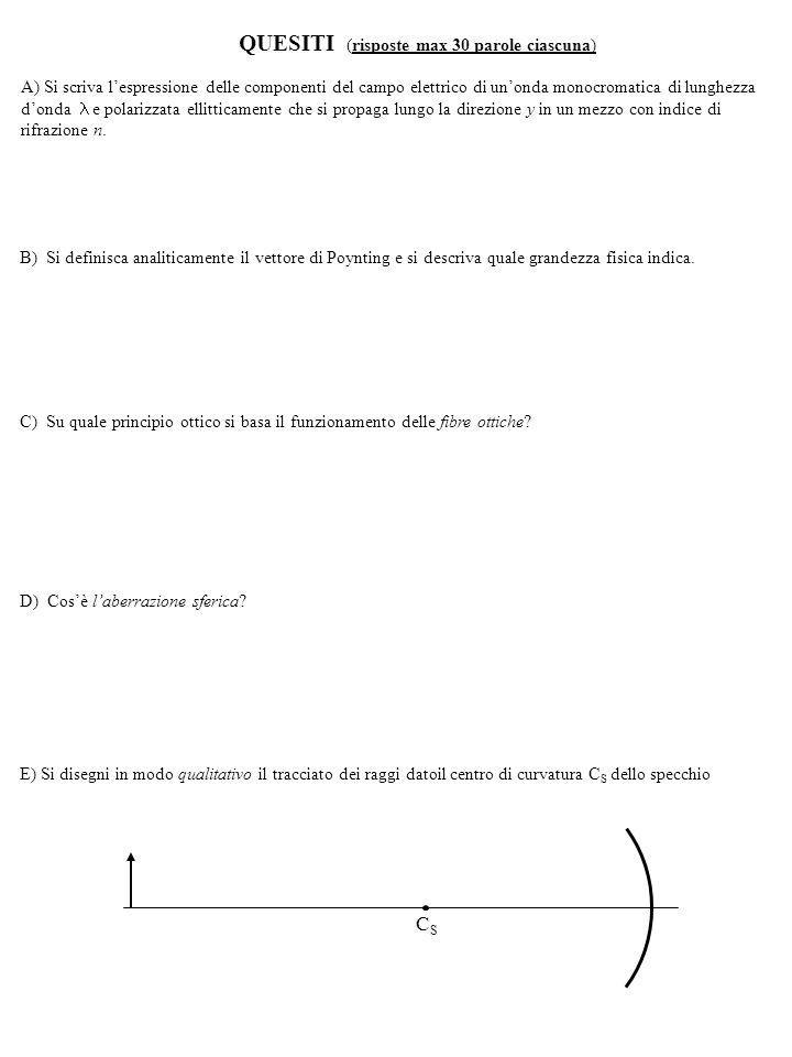 B) Si definisca analiticamente il vettore di Poynting e si descriva quale grandezza fisica indica.