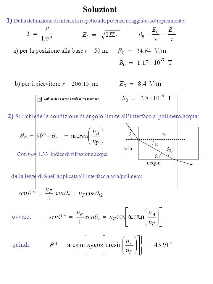 Soluzioni a) per la posizione alla base r = 50 m: b) per il ricevitore r = 206.15 m: 1) Dalla definizione di intensità rispetto alla potenza irraggiata isotropicamente: dalla legge di Snell applicata allinterfaccia aria/polimero: 2) Si richiede la condizione di angolo limite allinterfaccia polimero/acqua: ovvero: Con n P = 1.33 indice di rifrazione acqua nPnP acqua aria r i2 r quindi: