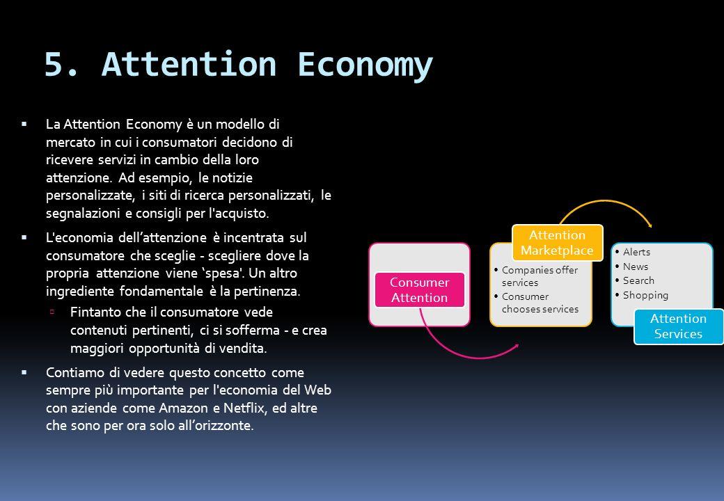 5. Attention Economy La Attention Economy è un modello di mercato in cui i consumatori decidono di ricevere servizi in cambio della loro attenzione. A