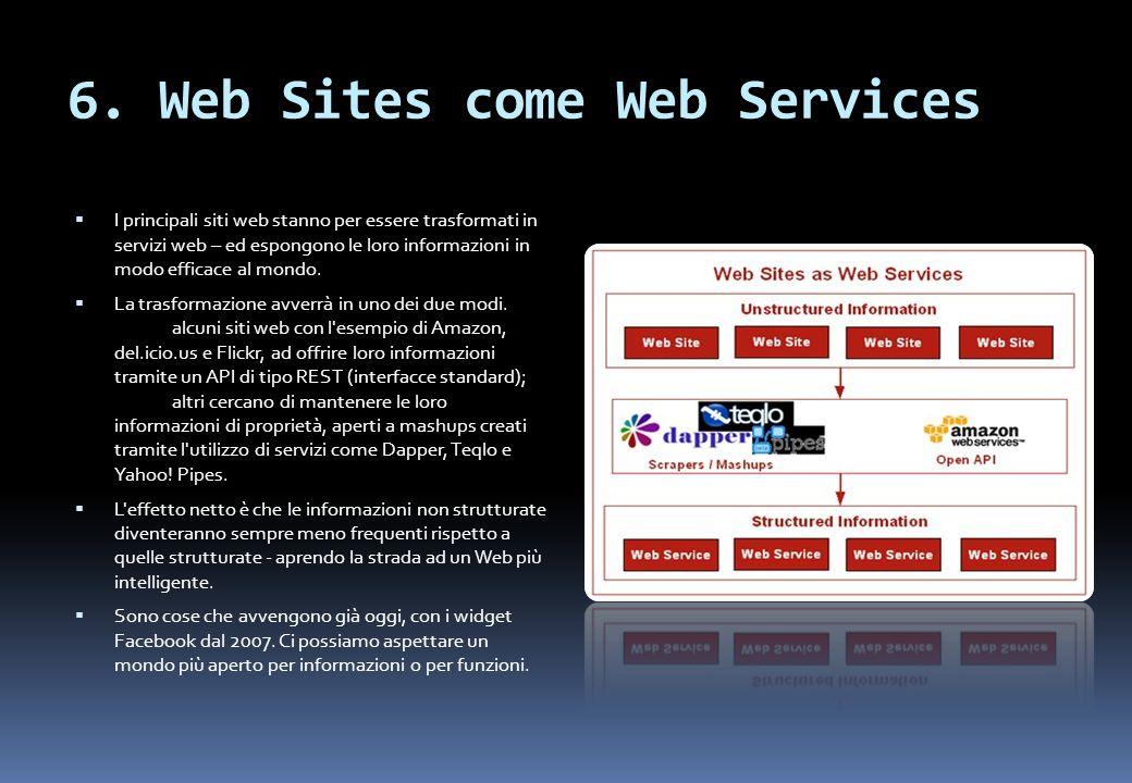 6. Web Sites come Web Services I principali siti web stanno per essere trasformati in servizi web – ed espongono le loro informazioni in modo efficace