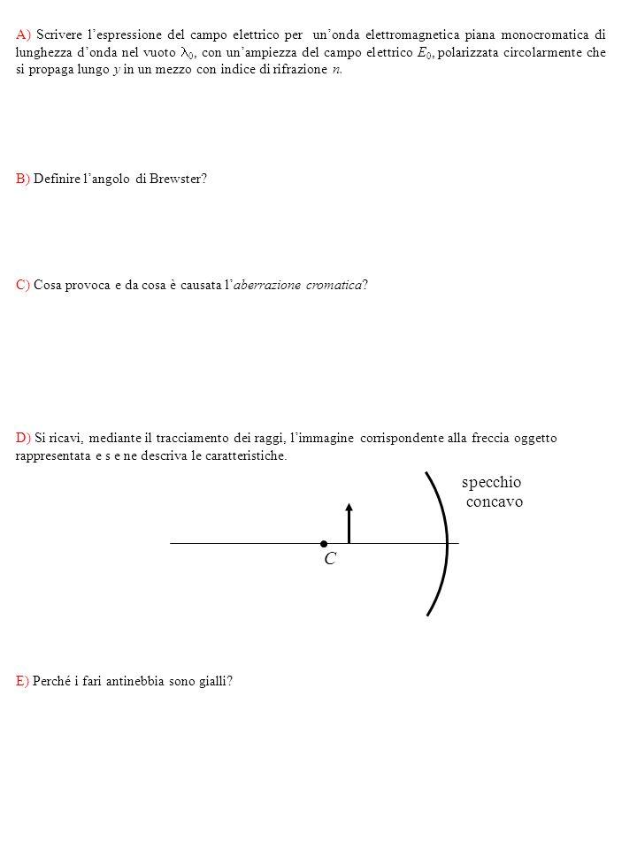 A) Scrivere lespressione del campo elettrico per unonda elettromagnetica piana monocromatica di lunghezza donda nel vuoto 0, con unampiezza del campo