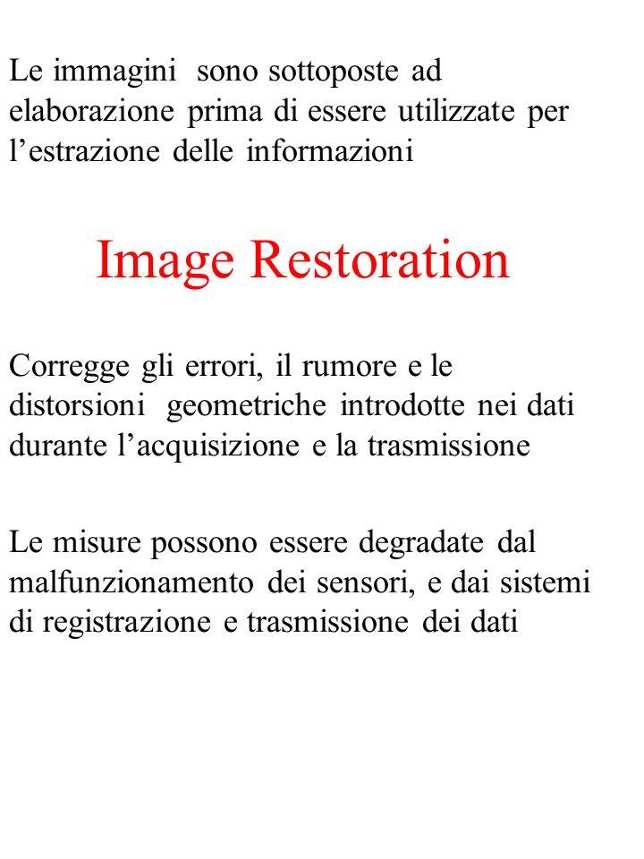 Le immagini sono sottoposte ad elaborazione prima di essere utilizzate per lestrazione delle informazioni Image Restoration Corregge gli errori, il rumore e le distorsioni geometriche introdotte nei dati durante lacquisizione e la trasmissione Le misure possono essere degradate dal malfunzionamento dei sensori, e dai sistemi di registrazione e trasmissione dei dati