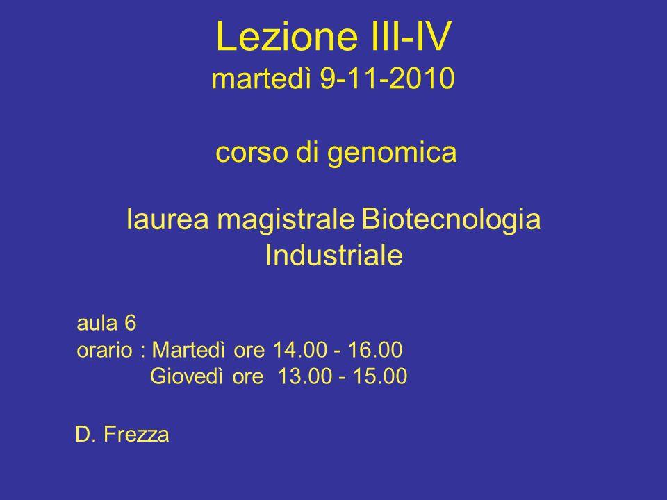 Lezione III-IV martedì 9-11-2010 corso di genomica laurea magistrale Biotecnologia Industriale aula 6 orario : Martedì ore 14.00 - 16.00 Giovedì ore 1