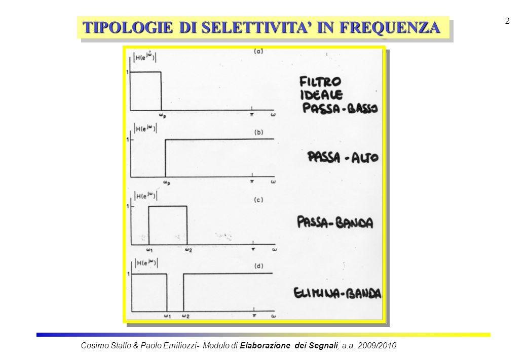 2 TIPOLOGIE DI SELETTIVITA IN FREQUENZA Cosimo Stallo & Paolo Emiliozzi- Modulo di Elaborazione dei Segnali, a.a.