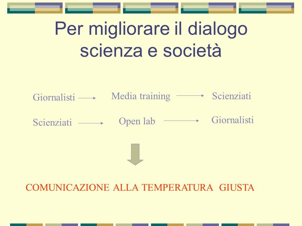 Per migliorare il dialogo scienza e società Giornalisti Media trainingScienziati Open lab Giornalisti COMUNICAZIONE ALLA TEMPERATURA GIUSTA