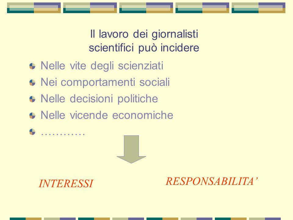 Il lavoro dei giornalisti scientifici può incidere Nelle vite degli scienziati Nei comportamenti sociali Nelle decisioni politiche Nelle vicende economiche ………… RESPONSABILITA INTERESSI