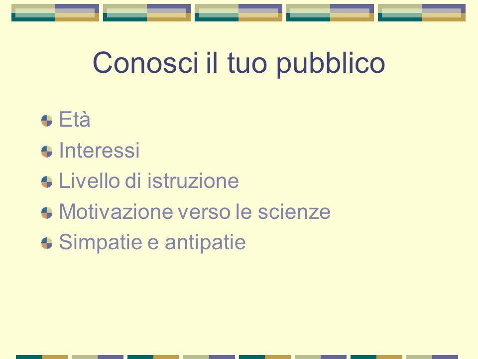 Conosci il tuo pubblico Età Interessi Livello di istruzione Motivazione verso le scienze Simpatie e antipatie