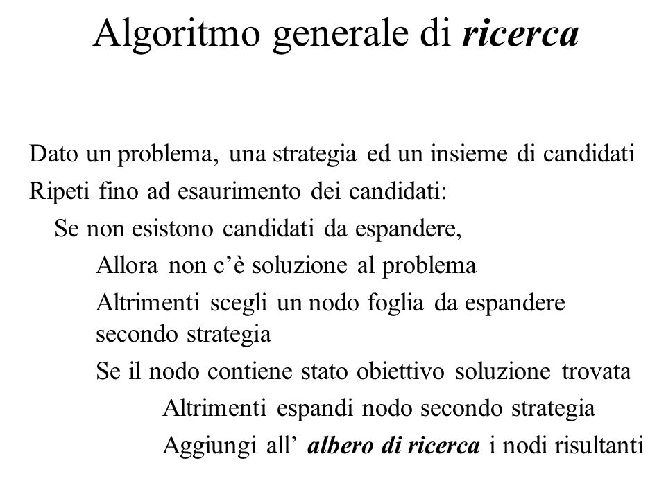 Algoritmo generale di ricerca Dato un problema, una strategia ed un insieme di candidati Ripeti fino ad esaurimento dei candidati: Se non esistono can