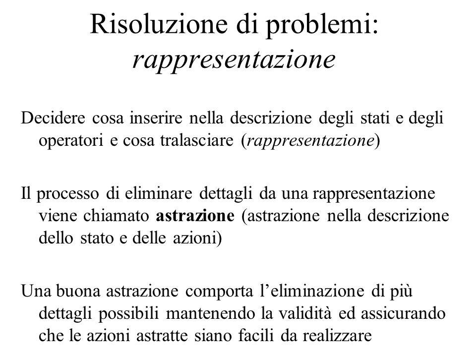 Risoluzione di problemi: rappresentazione Decidere cosa inserire nella descrizione degli stati e degli operatori e cosa tralasciare (rappresentazione)