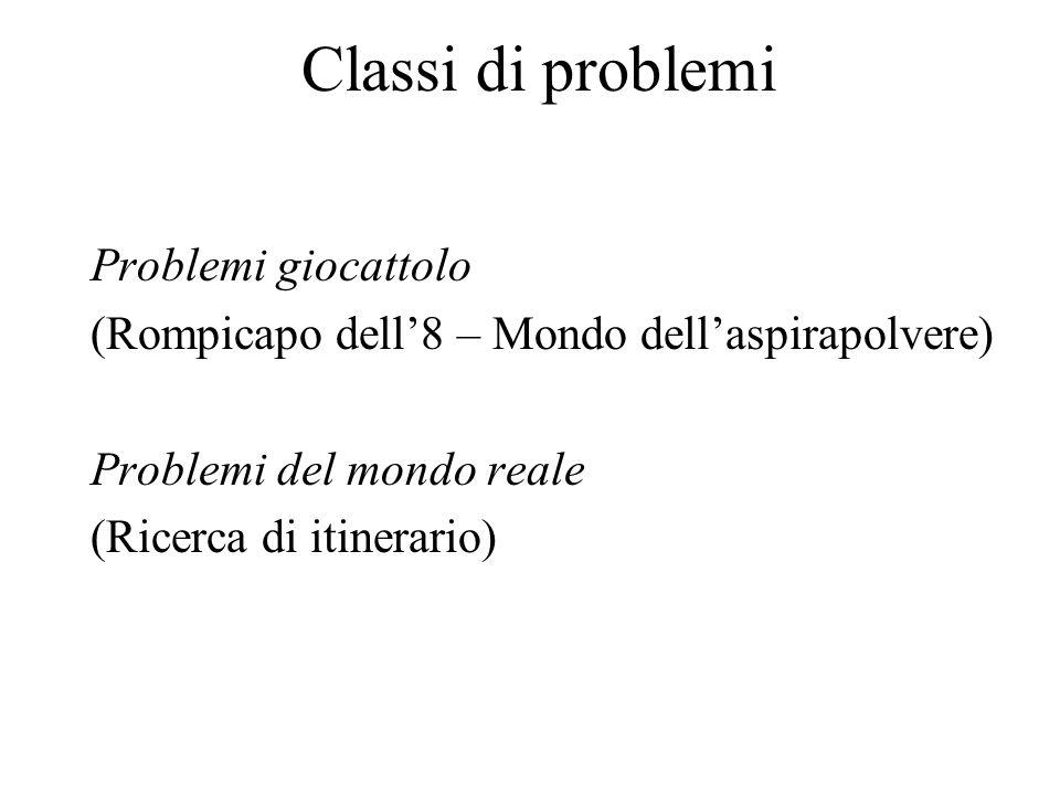 Classi di problemi Problemi giocattolo (Rompicapo dell8 – Mondo dellaspirapolvere) Problemi del mondo reale (Ricerca di itinerario)