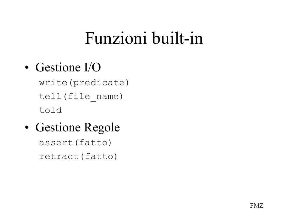 FMZ Funzioni built-in Gestione I/O write(predicate) tell(file_name) told Gestione Regole assert(fatto) retract(fatto)