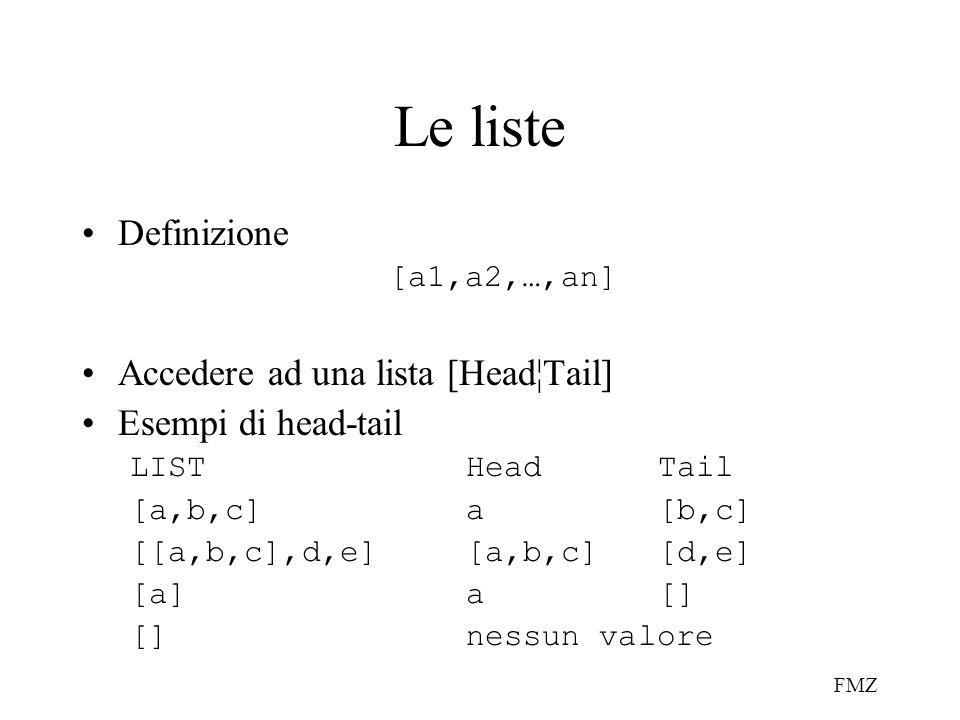 FMZ Le liste Definizione [a1,a2,…,an] Accedere ad una lista [Head¦Tail] Esempi di head-tail LISTHeadTail [a,b,c]a[b,c] [[a,b,c],d,e][a,b,c][d,e] [a]a[