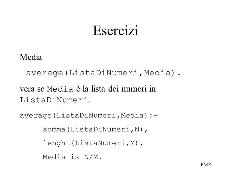 FMZ Esercizi Media average(ListaDiNumeri,Media). vera se Media è la lista dei numeri in ListaDiNumeri. average(ListaDiNumeri,Media):- somma(ListaDiNum