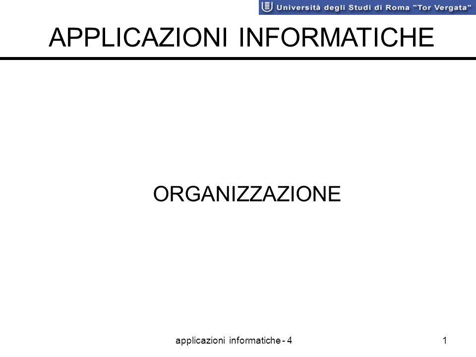 applicazioni informatiche - 41 ORGANIZZAZIONE APPLICAZIONI INFORMATICHE