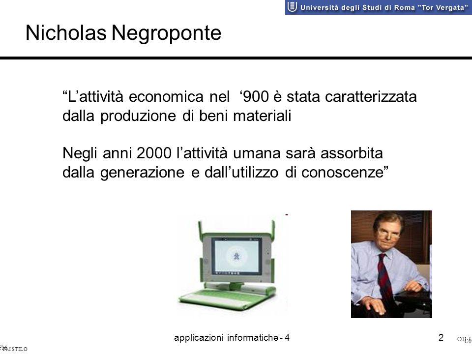 applicazioni informatiche - 42 SI&I FM STILO C01-L2 SI&I FM STILO C03-L2 Lattività economica nel 900 è stata caratterizzata dalla produzione di beni materiali Negli anni 2000 lattività umana sarà assorbita dalla generazione e dallutilizzo di conoscenze Nicholas Negroponte