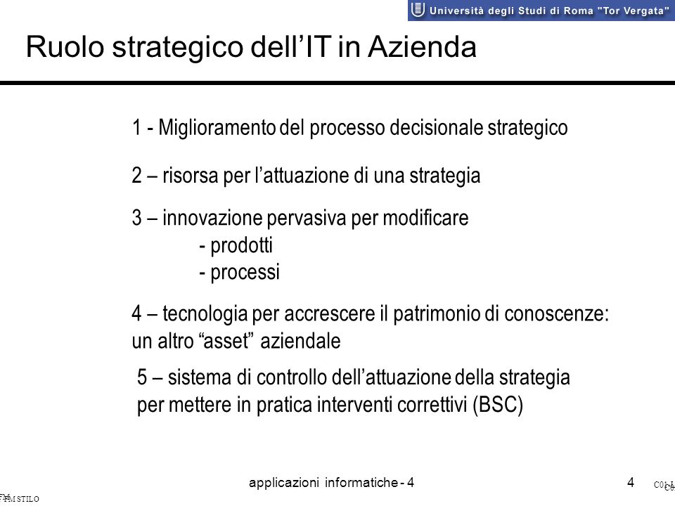 applicazioni informatiche - 44 SI&I FM STILO C01-L4 SI&I FM STILO C03-L4 Ruolo strategico dellIT in Azienda 1 - Miglioramento del processo decisionale