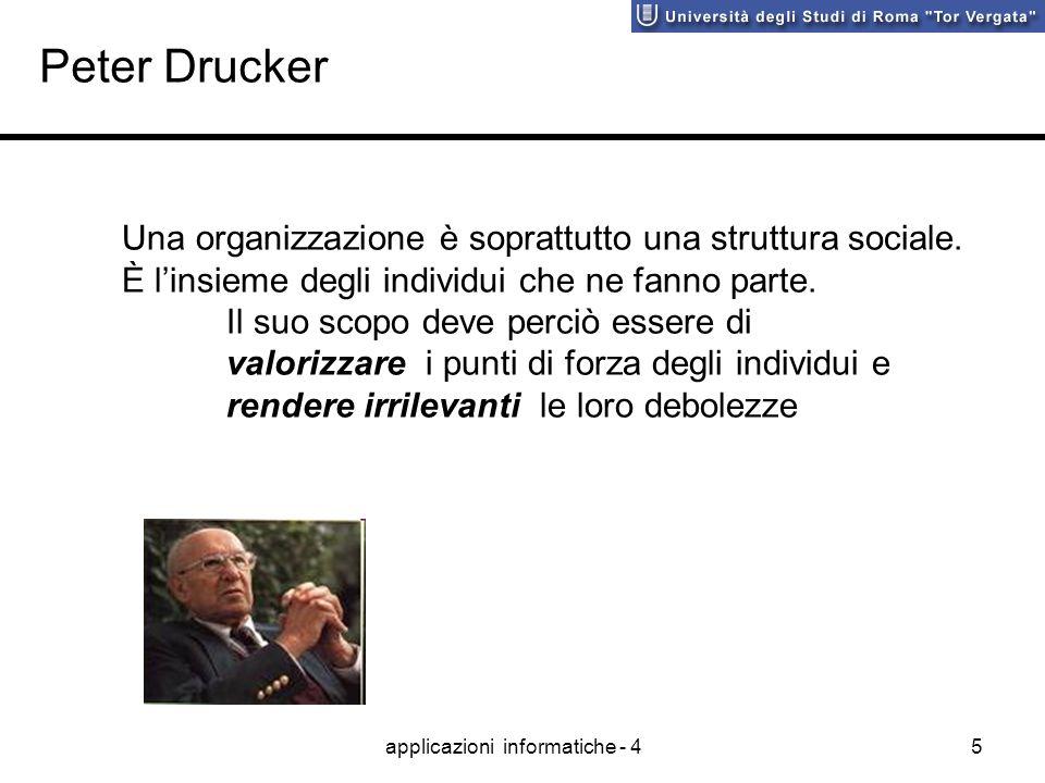 applicazioni informatiche - 45 Peter Drucker Una organizzazione è soprattutto una struttura sociale. È linsieme degli individui che ne fanno parte. Il