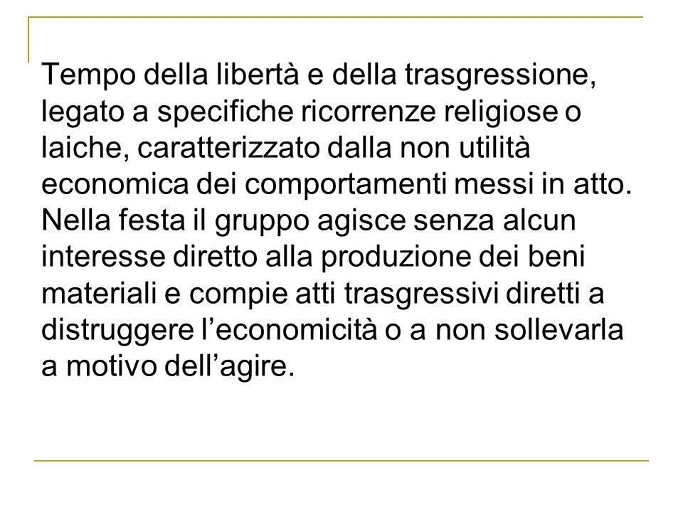 Tempo della libertà e della trasgressione, legato a specifiche ricorrenze religiose o laiche, caratterizzato dalla non utilità economica dei comportamenti messi in atto.