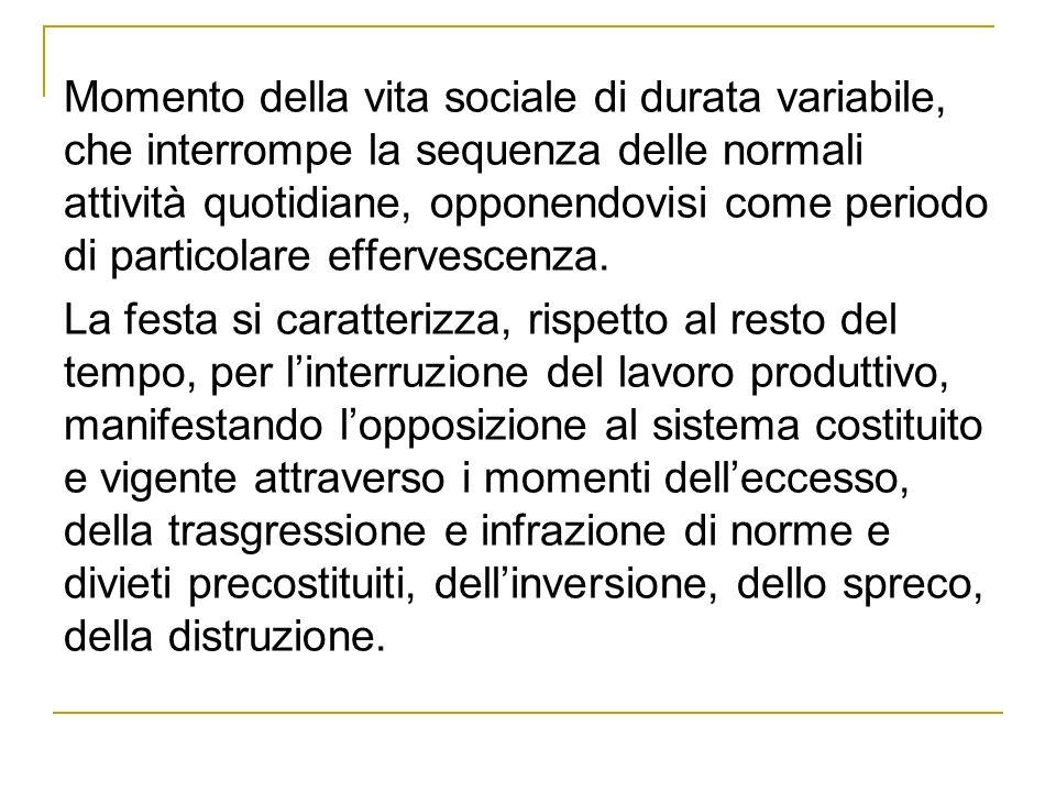 Momento della vita sociale di durata variabile, che interrompe la sequenza delle normali attività quotidiane, opponendovisi come periodo di particolare effervescenza.