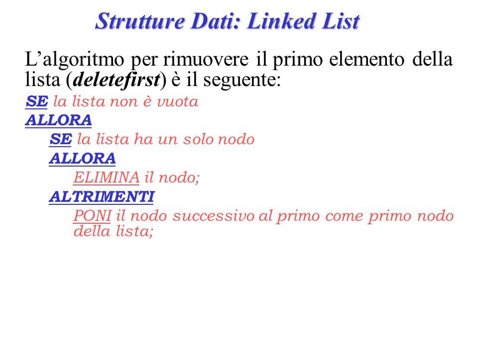 Strutture Dati: Linked List Lalgoritmo per rimuovere il primo elemento della lista (deletefirst) è il seguente: SE la lista non è vuota ALLORA SE la l