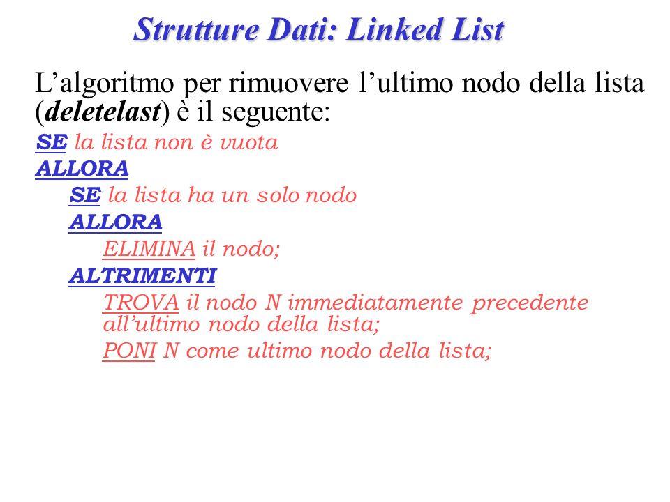 Strutture Dati: Linked List Lalgoritmo per rimuovere lultimo nodo della lista (deletelast) è il seguente: SE la lista non è vuota ALLORA SE la lista h