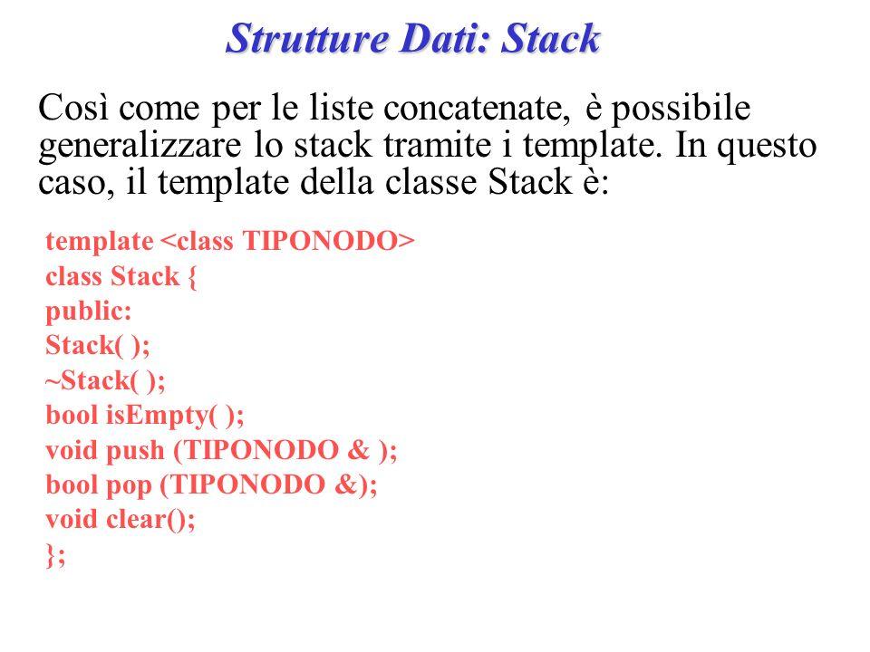 Strutture Dati: Stack Così come per le liste concatenate, è possibile generalizzare lo stack tramite i template. In questo caso, il template della cla