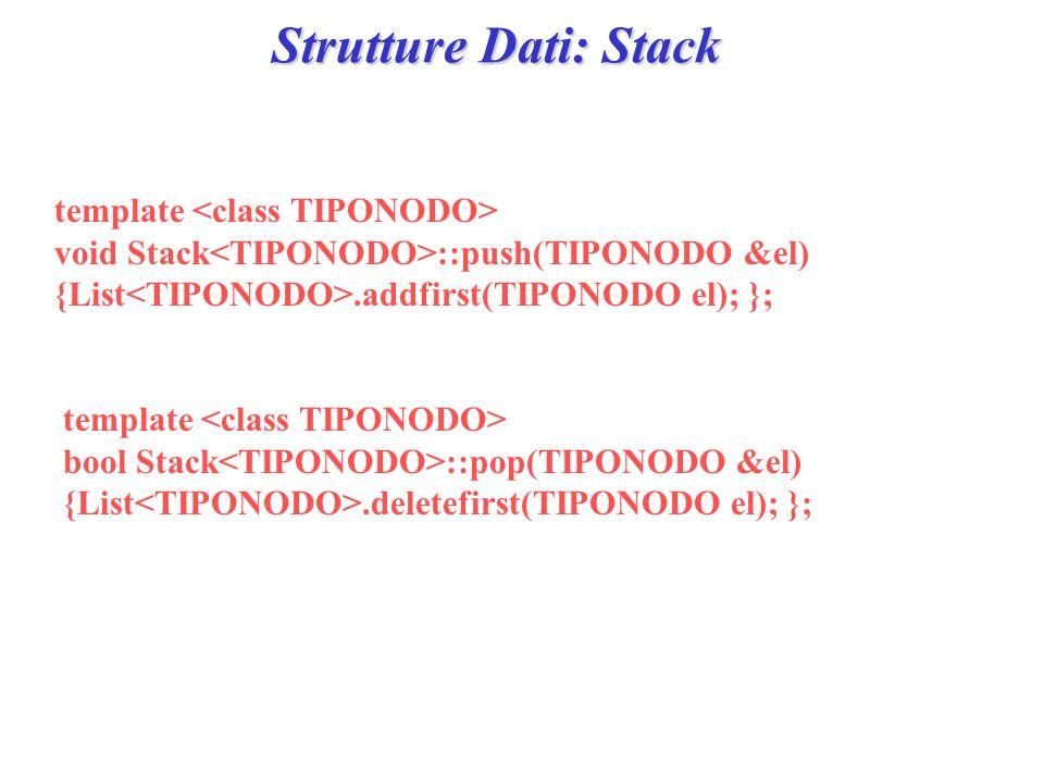 Strutture Dati: Stack template void Stack ::push(TIPONODO &el) {List.addfirst(TIPONODO el); }; template bool Stack ::pop(TIPONODO &el) {List.deletefir