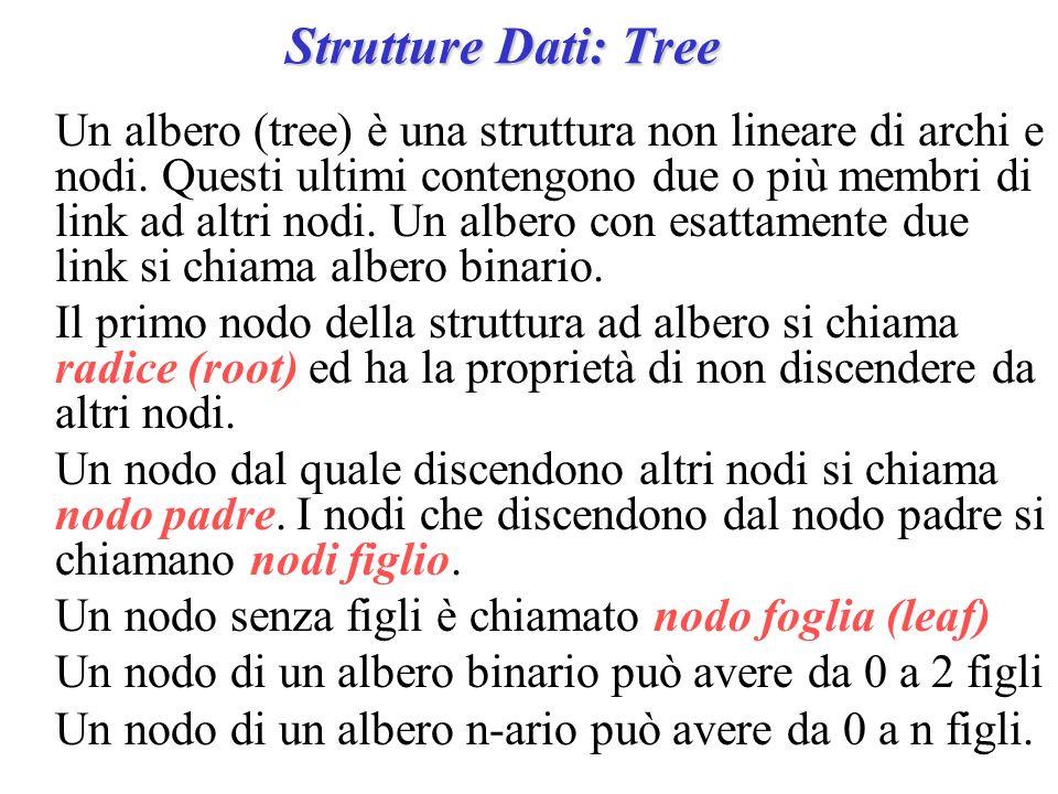 Strutture Dati: Tree Un albero (tree) è una struttura non lineare di archi e nodi. Questi ultimi contengono due o più membri di link ad altri nodi. Un