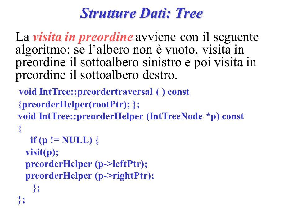 Strutture Dati: Tree La visita in preordine avviene con il seguente algoritmo: se lalbero non è vuoto, visita in preordine il sottoalbero sinistro e p