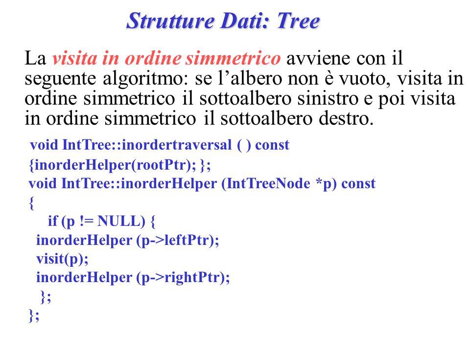Strutture Dati: Tree La visita in ordine simmetrico avviene con il seguente algoritmo: se lalbero non è vuoto, visita in ordine simmetrico il sottoalb
