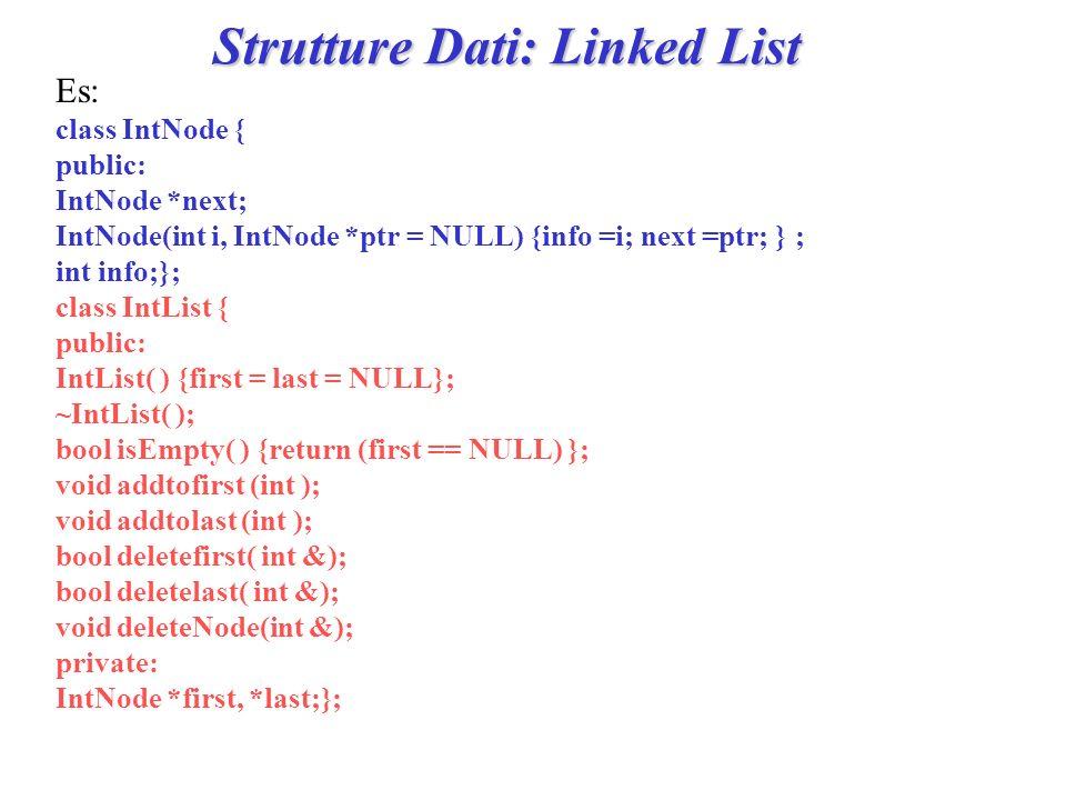 Strutture Dati: Linked List Lalgoritmo per aggiungere un elemento el in cima alla lista (addtofirst)è il seguente: CREA un nuovo nodo N (contente el ) con il primo nodo della lista come nodo successivo ad N; PONI N come primo elemento della lista ; SE lultimo elemento della lista non esiste ALLORA PONI il primo elemento della lista come ultimo elemento della lista;