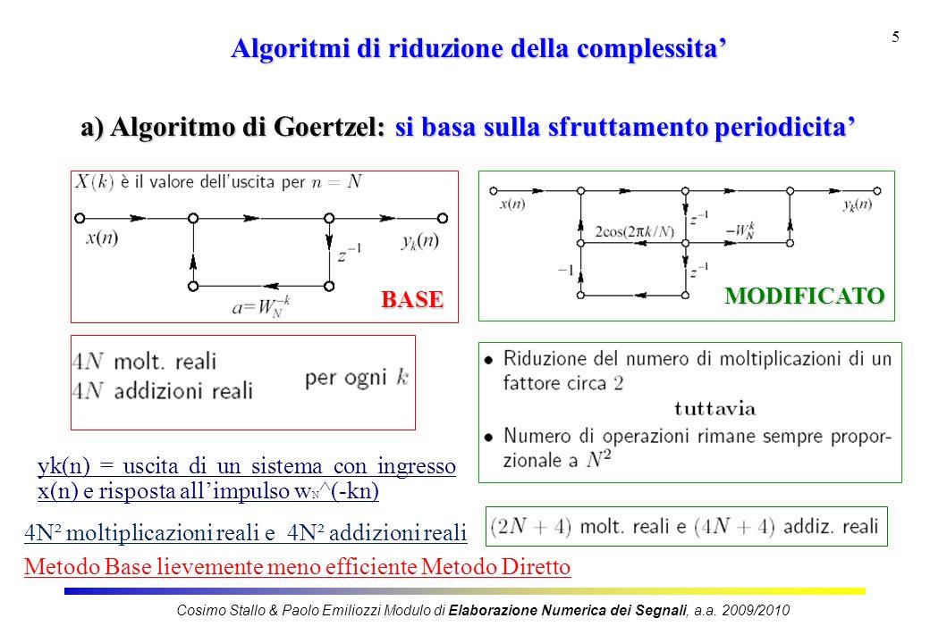 5 Algoritmi di riduzione della complessita a) Algoritmo di Goertzel: si basa sulla sfruttamento periodicita BASE MODIFICATO Cosimo Stallo & Paolo Emiliozzi Modulo di Elaborazione Numerica dei Segnali, a.a.