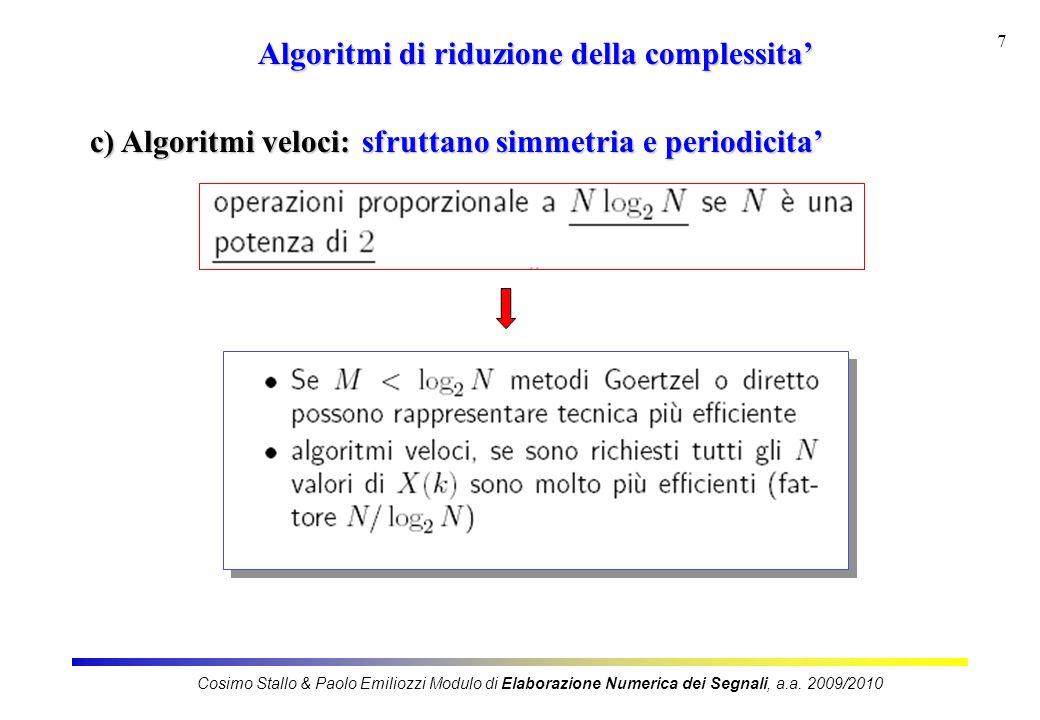 7 Algoritmi di riduzione della complessita c) Algoritmi veloci: sfruttano simmetria e periodicita Cosimo Stallo & Paolo Emiliozzi Modulo di Elaborazione Numerica dei Segnali, a.a.