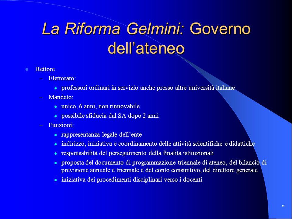 La Riforma Gelmini: Governo dellateneo Rettore – Elettorato: professori ordinari in servizio anche presso altre università italiane – Mandato: unico,