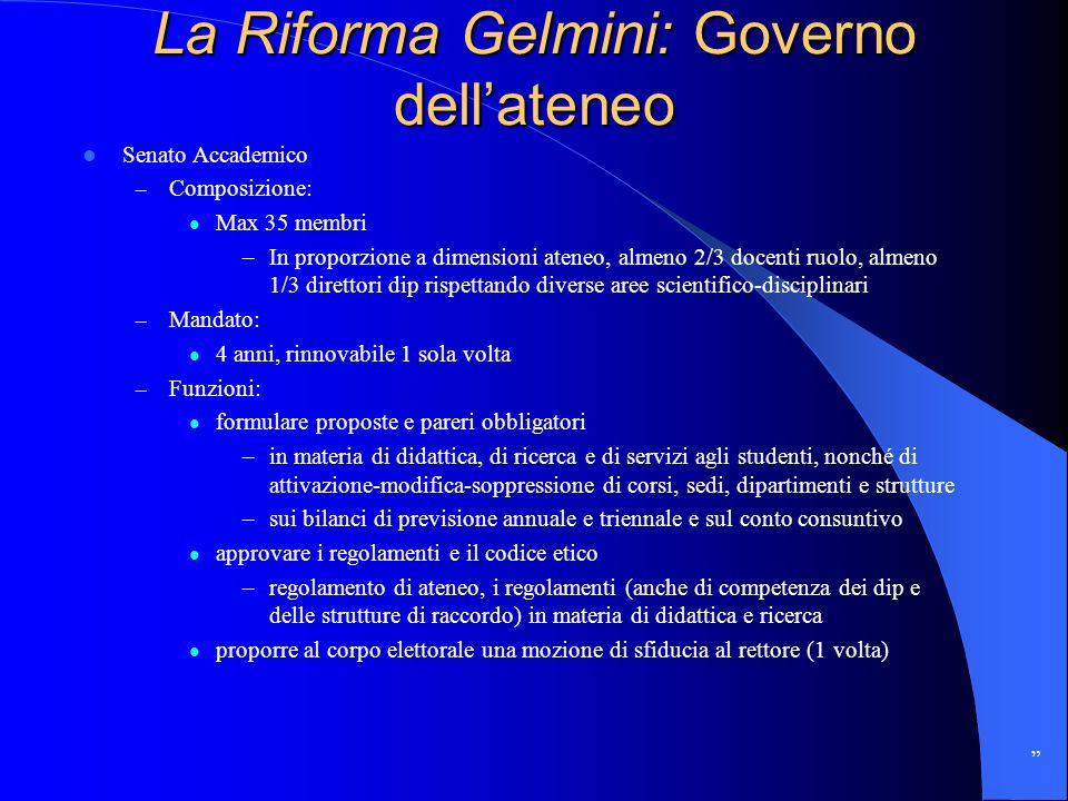 La Riforma Gelmini: Governo dellateneo Senato Accademico – Composizione: Max 35 membri –In proporzione a dimensioni ateneo, almeno 2/3 docenti ruolo,