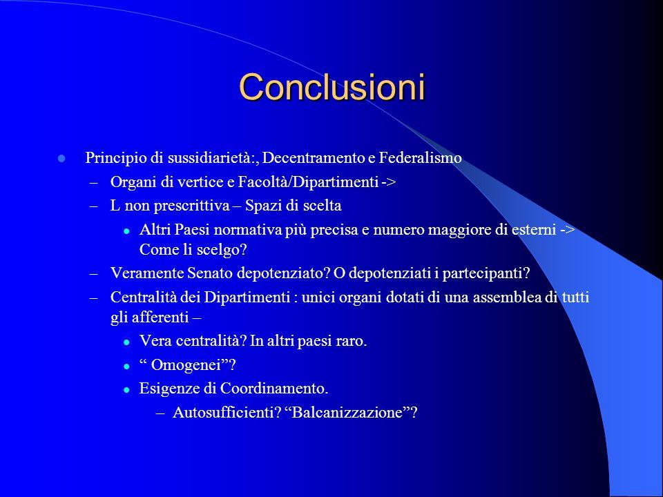 Conclusioni Principio di sussidiarietà:, Decentramento e Federalismo – Organi di vertice e Facoltà/Dipartimenti -> – L non prescrittiva – Spazi di sce