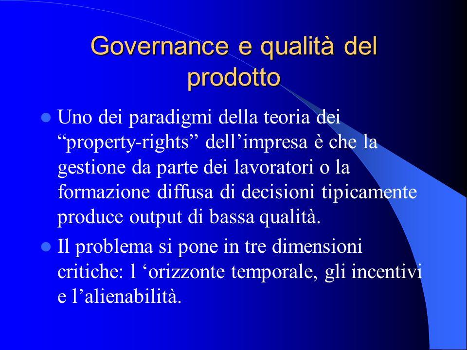 Governance e qualità del prodotto Uno dei paradigmi della teoria dei property-rights dellimpresa è che la gestione da parte dei lavoratori o la formaz