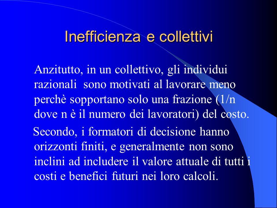 Inefficienza e collettivi Anzitutto, in un collettivo, gli individui razionali sono motivati al lavorare meno perchè sopportano solo una frazione (1/n