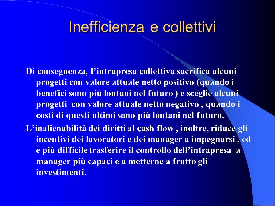 Inefficienza e collettivi Di conseguenza, lintrapresa collettiva sacrifica alcuni progetti con valore attuale netto positivo (quando i benefici sono p