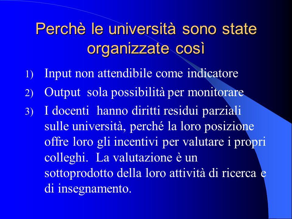 Perchè le università sono state organizzate così 1) Input non attendibile come indicatore 2) Output sola possibilità per monitorare 3) I docenti hanno
