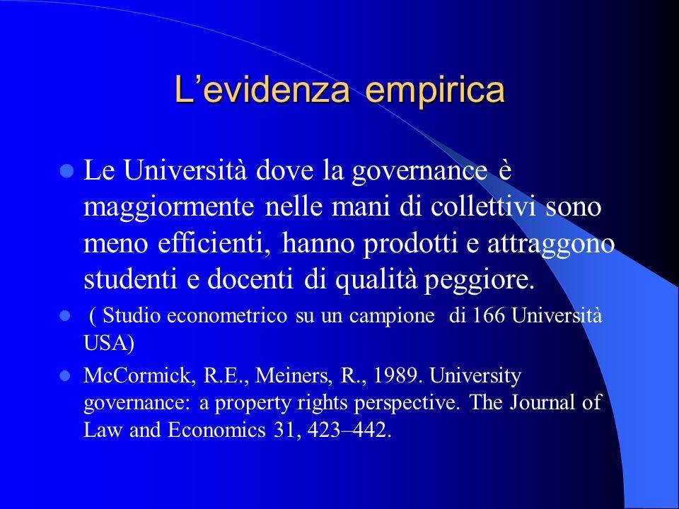 Levidenza empirica Le Università dove la governance è maggiormente nelle mani di collettivi sono meno efficienti, hanno prodotti e attraggono studenti