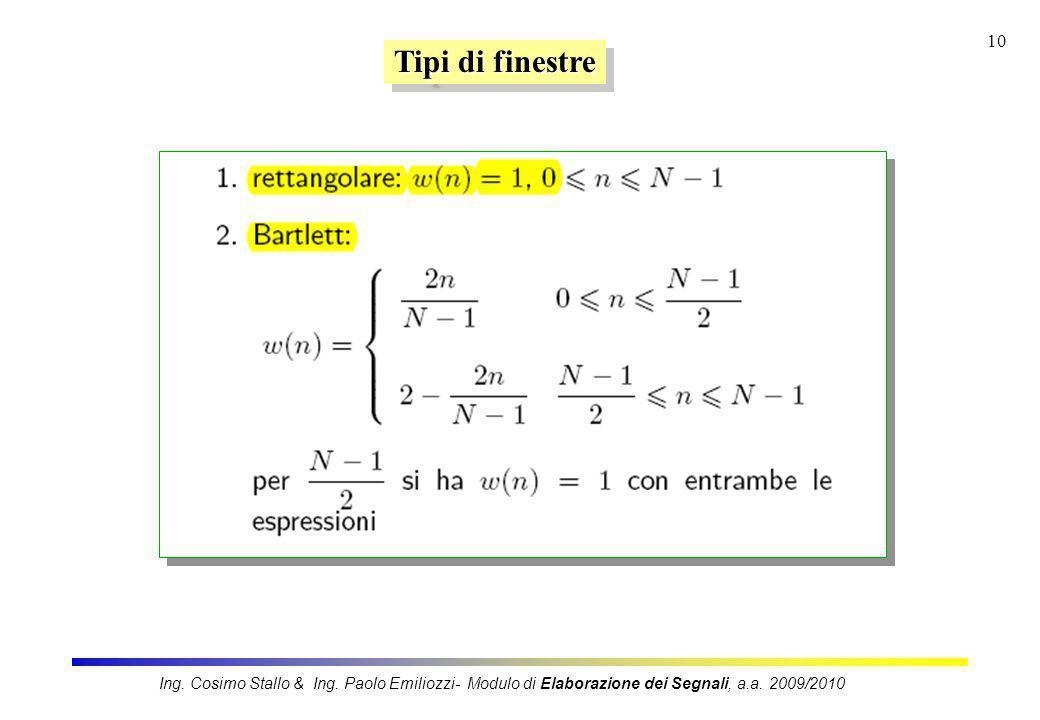 10 Tipi di finestre Ing. Cosimo Stallo & Ing. Paolo Emiliozzi- Modulo di Elaborazione dei Segnali, a.a. 2009/2010